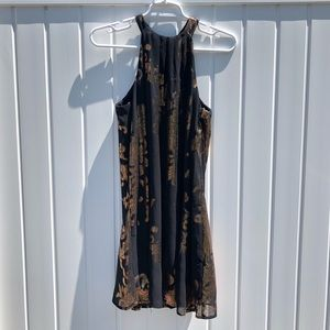 One Clothing Sleeveless Gold Design Dress